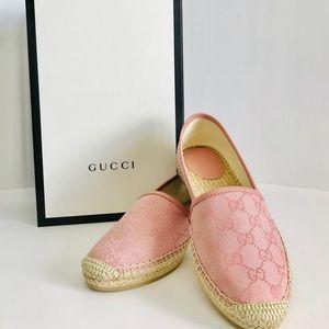 Gucci Pink Canvas GG Guccissima Espadrille Flats